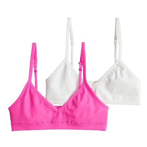 Girls 7-16 Hanes 2-pack Seamless V-Neck Crop Bras