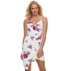 Juniors' Almost Famous Floral Asymmetrical Faux-Wrap Dress