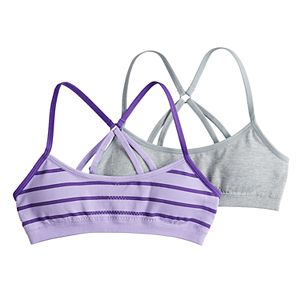 87096e7d022cc2 Girls 7-16 Hanes 2-pack Seamless Molded Wire Free Crop Bras