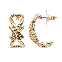 Napier Gold Plated Open Hoop Earrings