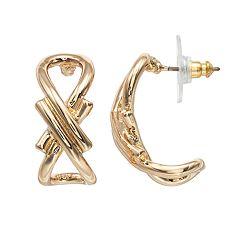 Napier Gold Plated Open Hoop Earrings