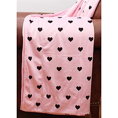 Thro Kids Hearts Print Micromink Throw