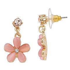 LC Lauren Conrad Pink Flower Nickel Free Drop Earrings