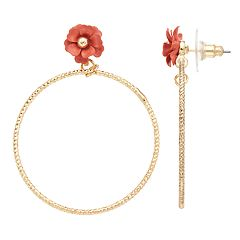 LC Lauren Conrad Pink Flower Nickel Free Textured Hoop Earrings