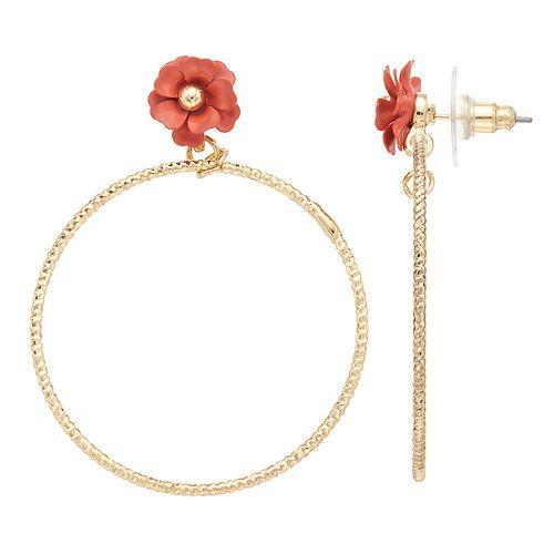 LC Lauren Conrad Pink Flower Nickel Free Textured Hoop Earrings