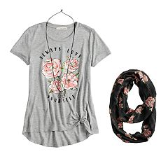 Girls 7-16 & Plus Size Self Esteem Side Knot Top Set with Scarf & Necklace