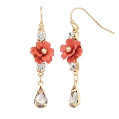 LC Lauren Conrad Pink Flower Nickel Free Linear Drop Earrings