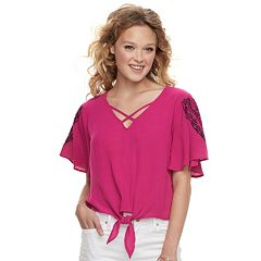 Juniors' Love, Fire Embroidered Flutter Sleeve Top
