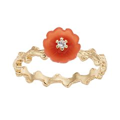 LC Lauren Conrad Peach Flower & Branch Ring