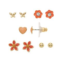 LC Lauren Conrad Peach Flower & Heart Nickel Free Stud Earring Set