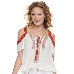 Juniors' Love, Fire Ruffle Hem Cold Shoulder Top