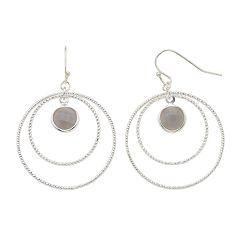 LC Lauren Conrad Textured Nickel Free Double Hoop Drop Earrings
