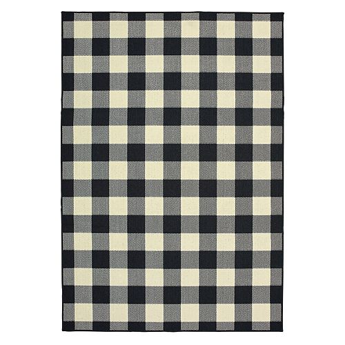 Gingham Rug: StyleHaven Mainland Gingham Plaid Indoor Outdoor Rug