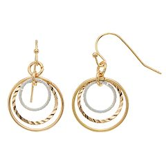 LC Lauren Conrad Two Tone Nickel Free Textured Hoop Drop Earrings