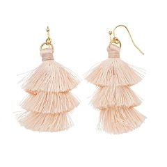 LC Lauren Conrad Pink Fringe Nickel Free Tassel Drop Earrings