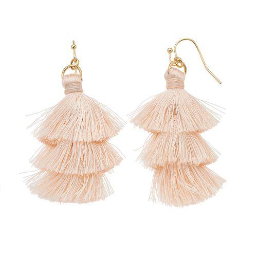 LC Lauren Conrad Pink Fringe Nickel Free Tassel Drop Earrings