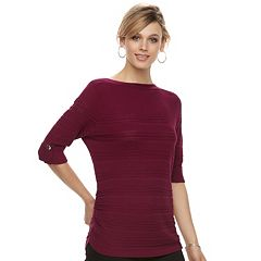 Women's Apt. 9® Textured Ruched Boatneck Sweater