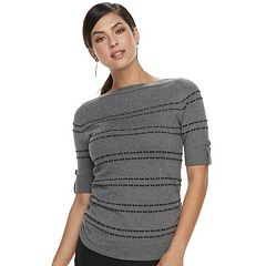 Women's Apt. 9® Shadow-Stripe Ruched Sweater
