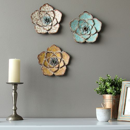 Stratton Home Decor Rustic Flower Wall Decor 3 Piece Set