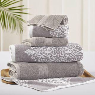 Allure 6-piece Artesia Damask Reversible Jacquard Bath Towel Set