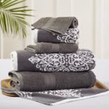 Allure 6 pc Artesia Damask Reversible Jacquard Bath Towel Set
