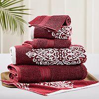 Allure 6 pc Artesia Damask Reversible Jacquard Bath Towel Set