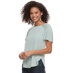 Juniors' Rewind Crochet Shoulder Tee