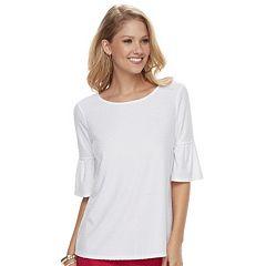 Women's ELLE™ Clip-Dot Ruffle Sleeve Top