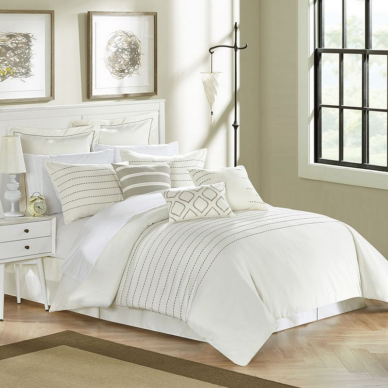 Brenton 9-piece Comforter Set, Beige Over, Queen