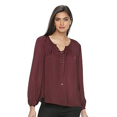 Women's Jennifer Lopez Lace-Up Chiffon Blouse
