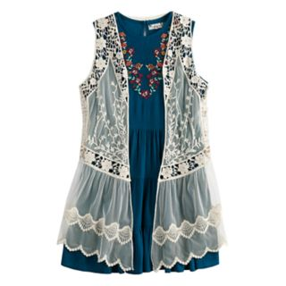 Girls 7-16 Knitworks Floral Dress & Vest Set