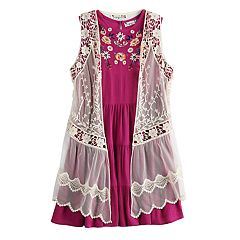 Girls 7-16 Knit Works Floral Dress & Vest Set