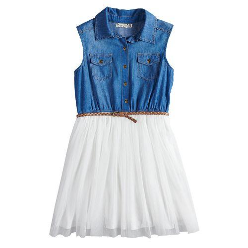 Girls 7-16 & Plus Size Knitworks Sleeveless Denim Bodice Belted Dress