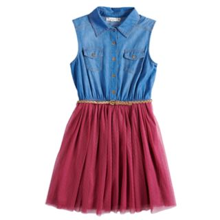 Girls 7-16 & Plus Size Knitworks Sleeveless Denim Bodice Belted Dress