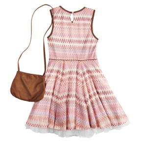 Girls 7-16 & Plus Size Knitworks Faux-Suede & Lace Dress with Purse
