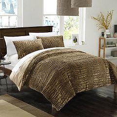 Alligator Faux Fur 3-piece Queen Comforter Set