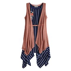 Girls 7-16 Knit Works 2-Piece Sharkbite Dress and Vest Set