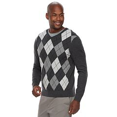 Men's Croft & Barrow® Classic-Fit Argyle Fine-Gauge V-Neck Sweater