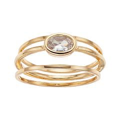 LC Lauren Conrad Bezel Simulated Crystal Ring Set