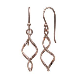 PRIMROSE Rose Gold Tone Sterling Silver Corkscrew Drop Earrings