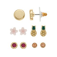 LC Lauren Conrad Flower & Pineapple Nickel Free Stud Earring Set