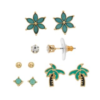 LC Lauren Conrad Flower & Palm Tree Nickel Free Stud Earring Set