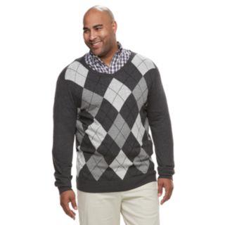 Big & Tall Croft & Barrow® Classic-Fit 12GG Argyle V-Neck Sweater