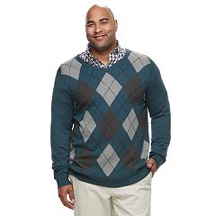 Big & Tall Croft & Barrow® Classic-Fit 12GG Argyle V-Neck Sweater