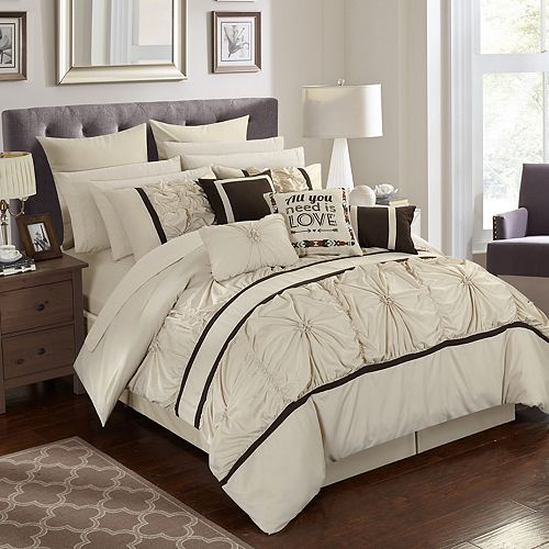 King Off-White, Off Chic Home Ashville 16 Piece Comforter Set
