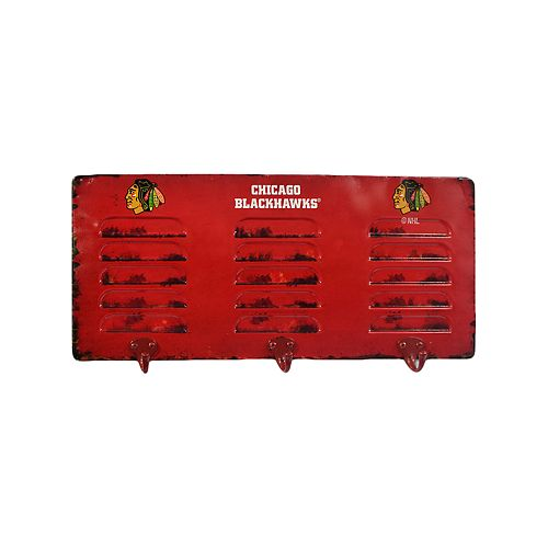 Chicago Blackhawks 3-Hook Metal Locker Coat Rack