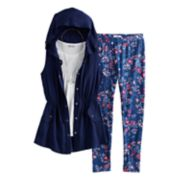 Girls 7-16 Knitworks Tank Top, Leggings & Anorak Hoodie Vest Set with Necklace
