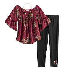 Girls 7-16 Knitworks Floral Bell Sleeve Top & Leggings Set with Necklace