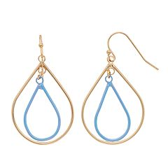 LC Lauren Conrad Blue Nickel Free Teardrop Earrings