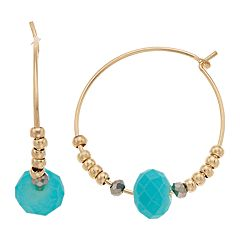 LC Lauren Conrad Teal Bead Nickel Free Hoop Earrings